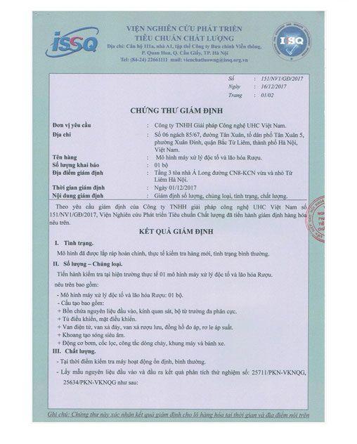 chứng thư giám định tiêu chuẩn chất lượng