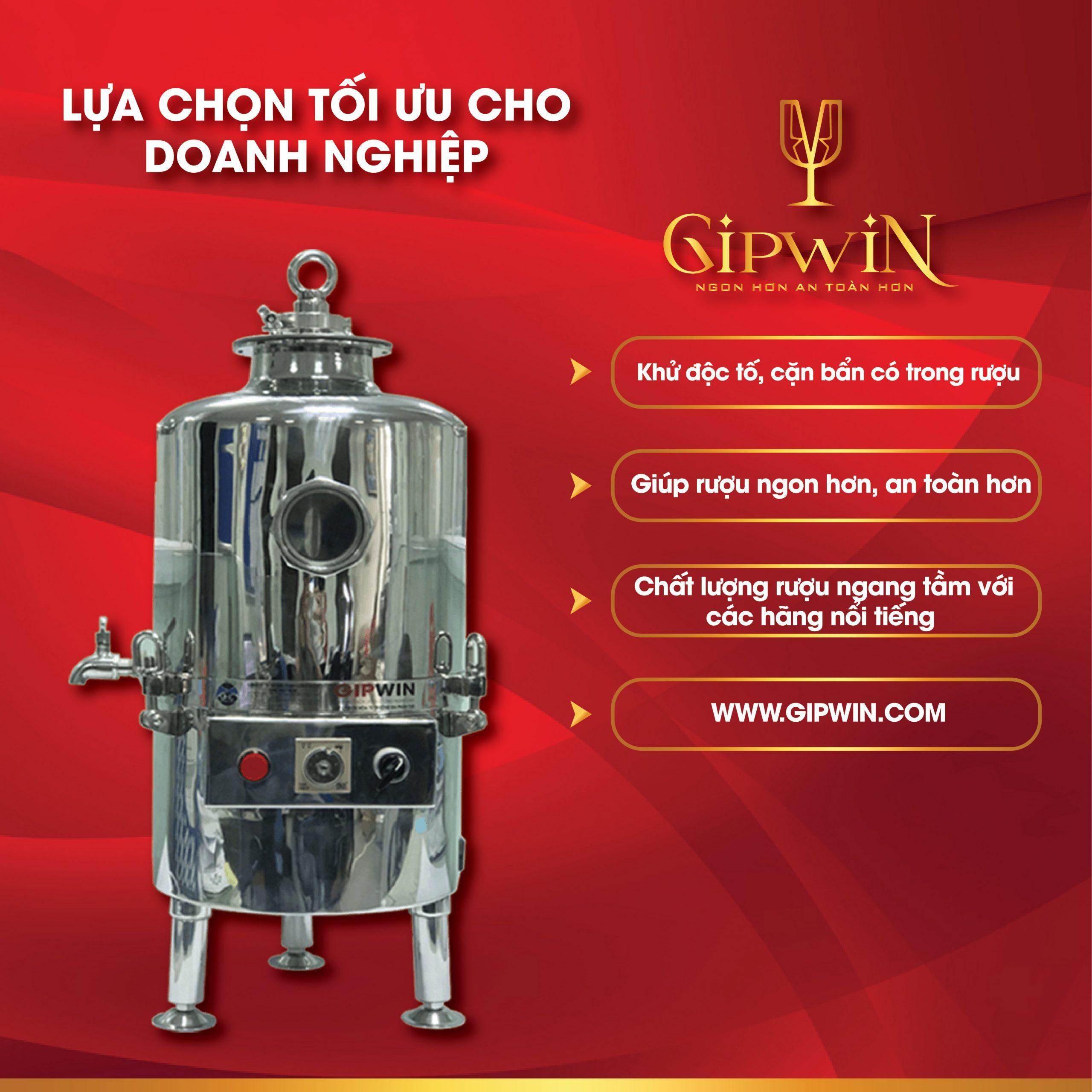 Lọc trong rượu bằng máy lão hóa rượu Gipwin được các doanh nghiệp lựa chọn hàng đầu.