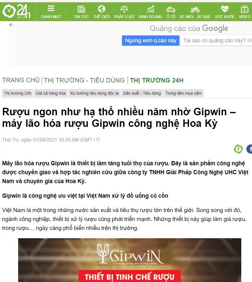 Báo 24h đưa tin về sản phẩm Máy lão hóa rượu Gipwin