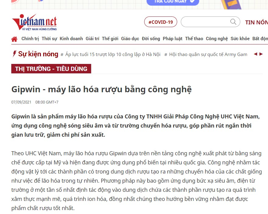 Báo Vietnamnet đưa tin về máy lão hóa rượu Gipwin